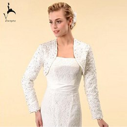 Wholesale good jacket brands - 2018 Spring Collection Long Sleeve Satin Bridal Jacket 100% Good Quality New Brand Wedding Bolero With Beaded Applique