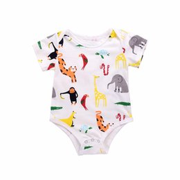 Wholesale Elephant Romper - Mikrdoo Baby Cute Rompers Kid's Boy Girl Animal Deer Monkey Elephant Printed Cotton Romper Short Sleeve O-Neck 0-18M Newborn Casual Clothes