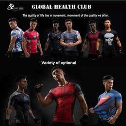 Wholesale Orange Yellow Tights - Men's T-shirt Compression Shirt The Avengers Captain America 3 Spring and Summer Tights Superhero Fitness Sports Clothes Tshirt Compression