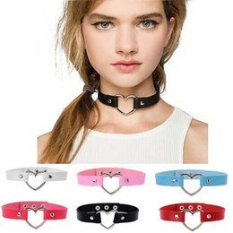 Wholesale sexy indian girls - Wholesale-New simple collar punk neck strap sexy collar sexy collar personality exaggeration chokers girl gift CA089