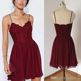 Wholesale Sweet Pink Chiffon Lace Jewel - Burgundy Short Lace Bodice Bridesmaid Dresses 2017 Summer Beach Skirts Chiffon Junior Sweet Formal Cocktail Party Gown Maid Gown