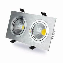 Wholesale Double Ceiling Led - 20W 30W Dimmable Led Downlights Double Heads COB Led Down Lights Recessed Ceiling Lamp AC 110-240V With Drivers