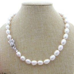 "Wholesale pink pearl necklace 14k - On Sale 17"" 10x12mm White Black Gray Pink Purple Rice Freshwater Pearl Necklace"