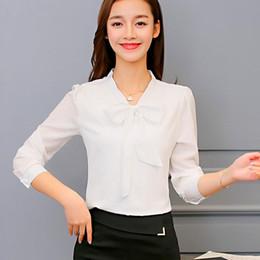Wholesale new korean women fashion blouse - 2017 New Fashion Women Blouse Shirt Solid Button Regular Party Club Work Long Sleeve Lovely White Bright V-Neck Korean Sexy