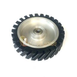 Polidor de roda on-line-Roda de borracha diagonal do contato do Polisher do moedor de correia da roda de 200 * de 50mm para as correias de lixamento