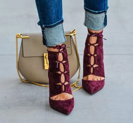 Wholesale High Heel Suede Booties - 2016 New Spring Fall Wine Suede Leather Heels Pointy Lace-up Booties Fashion Trend Women Boots Free Shipping Drop ship