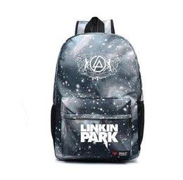 Wholesale Music School Bag - Teenagers Harajuku Canvas School Backpacks Galaxy Rock Music Linkin Park Printing Shoulder Bag Gift For Kids Mochila