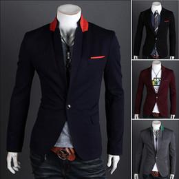 2019 homens de design elegante Venda por atacado- Venda quente 2014 novo design Mens marca Blazer casacos, Casual Slim Fit elegante Blazers para homens, Plus Size M ~ XXL, quatro cores homens de design elegante barato