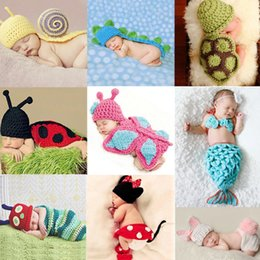 Wholesale Crochet Set Handmade - Handmade Infant Hat Newborn Baby Girl Crochet Beanie Toddler Knitted Cartoon Cute Mickey Mouse Bow Props Photography Costume Set