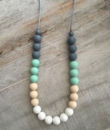 Wholesale Teething Necklaces - Silicone Teething Necklace Food Grade Silicone Beaded Necklaces Baby Teether Nursing Necklace Chewable Jewelry Baby Care Fashion White Mint