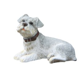 Wholesale Statue Figurines - Gray Schnauzer Dog Statue - Design Lying Puppy Top Collectible Painted Figurine Schnauzer Dog Sculptures for sale