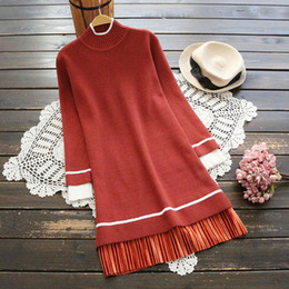 Wholesale Free Vintage Knitting - Vintage Winter Sweaters for women Long sleeve Simple O Neck Women Blouses Black and Red color