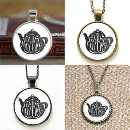 Wholesale Teapot Necklaces - 10pcs Tea Time Anytime Teapot Necklace keyring bookmark cufflink earring bracelet
