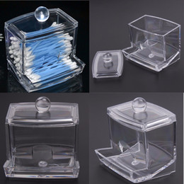 Wholesale Q Tip Cases - Wholesale- Fashion Clear Acrylic Cotton Swab Q-tip Storage Holder Box Cosmetic Makeup Case