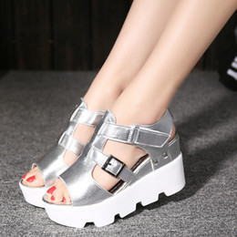 Wholesale Silver Platform Wedge Heels - 2017 Summer High Heels Hight Increased Platform Sandal Wedges Heels Open Toes High Gladiator Lazy Fashion Creeper Slippers Shoes