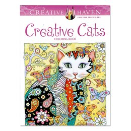 Wholesale Children Books - Creative Cats Coloring Books Adult Children Gifts 2017 New Arrival Secret Garden Series Painting Books Wholesale Decompression Drawing Book