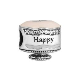 Wholesale Happy Days Tv - Happy Birthday Cake Charm Mixed Enamel Clear CZ 2017 Spring 100% 925 Sterling Silver Bead Fit Pandora Bracelet Authentic DIY Fashion Jewelry