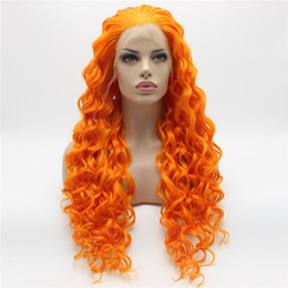 Wholesale Wig Orange Curly Long - Iwona Hair Curly Long Orange Wig 18#3200 Half Hand Tied Heat Resistant Synthetic Lace Front Wig