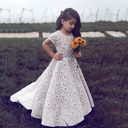Wholesale Cap For Girls Photos Cute - 2017 Vintage Lace Full length Flower Girls Dresses For Weddings With Sash o neck Short Sleeve Cute Country Boho Girls Communion Dress