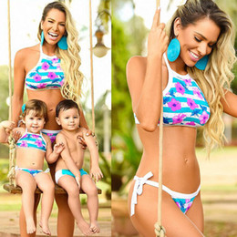 Wholesale Swimsuit Mother - Hot Sale Family Matching Outfits Mother Daughter Son Summer Swimsuit Kids Parent printed flower Swimwear Baby Girls boys Clothes