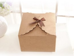 Wholesale Box For Mooncake - 300pcs 9*9*6cm Brown Packaging Kraft Paper Box For Candy\Cake\Jewelry\Gift\chocolate\Party Packing boxes