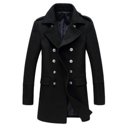 Wholesale Woolen Fleece Double Breasted Coat - Wholesale- Free shipping Autumn and winter new men 's long Solid color woolen coat Casual Slim double breasted woolen coat Windbreake 170