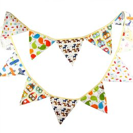 Wholesale Owl Supplies - Wholesale- 3.2m 12 Flags Owl Cartoon Handmade Fabric Bunting Banner Kid's Birthday Party Decoration Supplies Baby Shower Home Decoration
