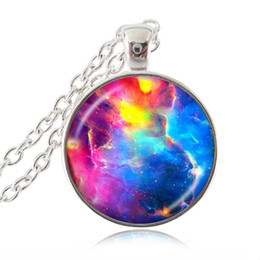 Wholesale Astronomy Space - Rainbow Nebula Necklace Colorful Galaxy Pendant Space Jewelry Universe Necklace Astronomy Jewellery Long Chain Glass Cabochon Neckless Women