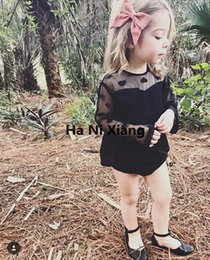 Wholesale Gauze Romper - INS baby girl Romper Black gauze love 2017 New Summer Infant Baby Rompers Lace short sleeve Jumpsuits One-Piece Kids Cotton Romper