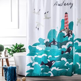 Wholesale White Polyester Shower Curtain - Wholesale- Navy and White nautical Waterproof Fabric Bathroom Shower Curtain Liner with 12 Hooks