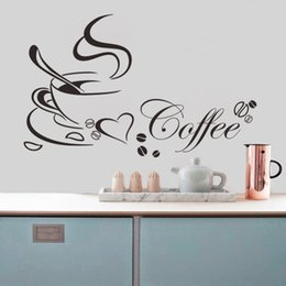 Wholesale Vinyl Wall Quotes For Kitchen - Wholesale- Coffee cup with heart vinyl quote Restaurant Kitchen removable wall Stickers DIY home decor wall art MURAL Drop Shipping