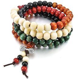 Wholesale 8mm Sandalwood Beads - 2016 New Hot fashion 8mm Natural Sandalwood Buddhist Buddha Meditation 108 beads Wood Prayer Bead Mala Bracelet Women Men jewelry