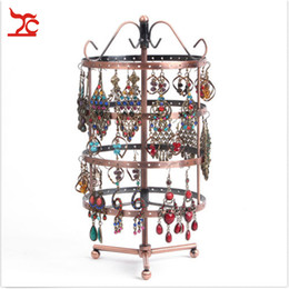 Wholesale Display Stands For Earrings - Hot Sale Retail One Bronze Round Perforated Metal Plate Rotating Earring Stand Holder For Jewelry Display Hanger 144 Holes 31CM height