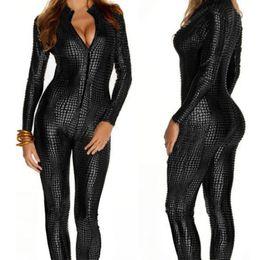 Wholesale Front Zip Catsuit - European Sexy Faux Leather Snake Skin Jumpsuit Front Zip Long Sleeve Plus Size XXL Bodysuit Spandex Catsuit Women X6614