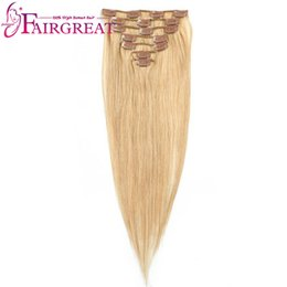 Wholesale Human Hair Extensions Full Set - Malaysian Brazilian Peruvian Indian Straight Hair Wefts 7pcs set #27 non-remy Hair Clip-in Full Head Human Hair Extension Wholesalee price