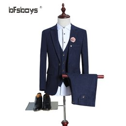 Wholesale Tailored Made Dress Pants - Wholesale- (Jackets+Pants+vest) Retro gentleman style custom made Men's suits tailor suit Blazer suits for men 3 piece wedding dress M-5XL
