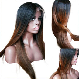 Wholesale African American Human Hair Wigs - Ombre dark roots two tone human hair full lace wig #1b 30 ombre color human hair wigs for African american