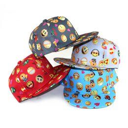 Wholesale Children Hip Hop Hat - New cartoon QQ Emoji pattern caps children Baseball cap flat along Parental hip hop Emoji pattern hats