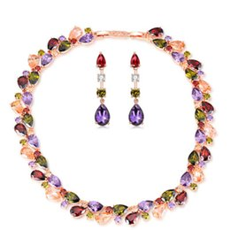 Wholesale Chunky Bridal Jewelry - Chunky Luxury Bridal Jewelry Sets Statement Crystal Jewelry Colorful Cubic Zirconia Necklace And Earring Set 022-JS0083