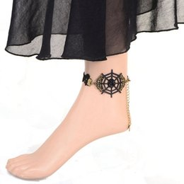 Wholesale Girls Spider Jewelry - Vintage Simple Black Lace Flower Anklet Novel Spider Web Design Ankle Bracelets For Women Foot Jewelry Accessories Drop Shipping