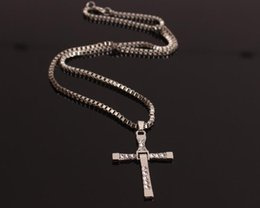 Wholesale Dominic Toretto Pendant - Movie The Fast and the Furious Celebrity Dominic Toretto 18K plated Gold Rhinestone Crystal Jesus Cross Pendant Necklaces Charm Jewelry 24pc