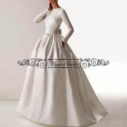 Wholesale Pockets Bow Wedding Dress - Long White Muslim Wedding Dresses 2018 Vintage Elegant Boat Neck Long Sleeve Sash Bow Pockets Gown