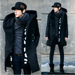 Wholesale Mens Double Trench Coats - Wholesale- 2017 Fashion Cheap Mens Pea Coat With Hood Double Breasted Long Wool Trench Coat Men Overcoat,Grey Black Navy Blue,Plus Size 3XL