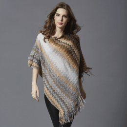 Wholesale Knit Shawl Large - Striped Winter Woman Shawls fashion new Large size mid long Pullovers Loose Batwing Sleeve Scarf Collar Striped knitted Women Sweater 77