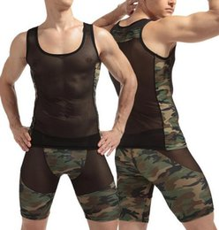 Wholesale Camouflage Sexy Underwear - Vest + Boxer Sexy Men Tank Tops Transparent Mesh vest Singlet Undershirts Gay Exotic sheer Camouflage Underwear Lingerie Set