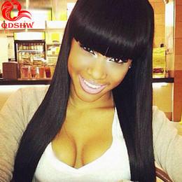 Wholesale Human Hair Chinese Bang Wig - Bang Wig Virgin Hair Peruvian Human Hair Full Front Lace Wigs Human Straight Women Black Full Lace Brazilian Wigs With Full Bangs