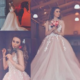 674d029f4fa 2017 Blush Pink Princess Ball Gown Prom Dresses Sheer Neck Lace Appliques  Celebrity Evening Gown Zipper Back Cheap Party Dress discount cheap  princess ball ...