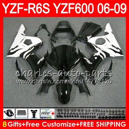 Wholesale R6 White Fairing Kit - 8Gifts 23Color Body For YAMAHA YZF600 YZFR6S 06 07 08 09 57HM8 White flames YZF R6 S YZF 600 YZF-R6S YZF R6S 2006 2007 2008 2009 Fairing kit