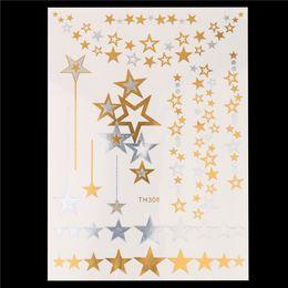 Wholesale Sticker Sheet Stars - Wholesale-1 Sheet New Fashion Decal Gold Silver Star Flash Metallic Tatoo Women Hair Body Art HT308 Temporary Tattoo Jewelry Charm Sticker
