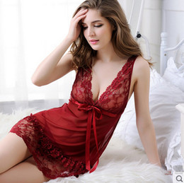 Wholesale V String Women - Sexy Woman Lingerie Erotic 2017 Babydoll Dress Strap Sheer Hollow Porno Lace Sleepwear Nightwear and G-string Sex Costumes yw-023